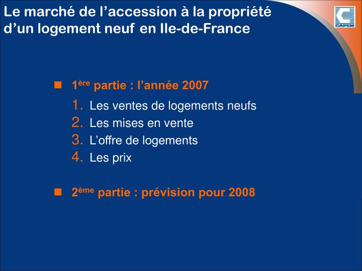 Le march de l accession la propri t d un logement neuf en ile de france