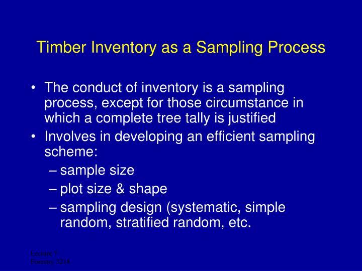 Timber Inventory as a Sampling Process