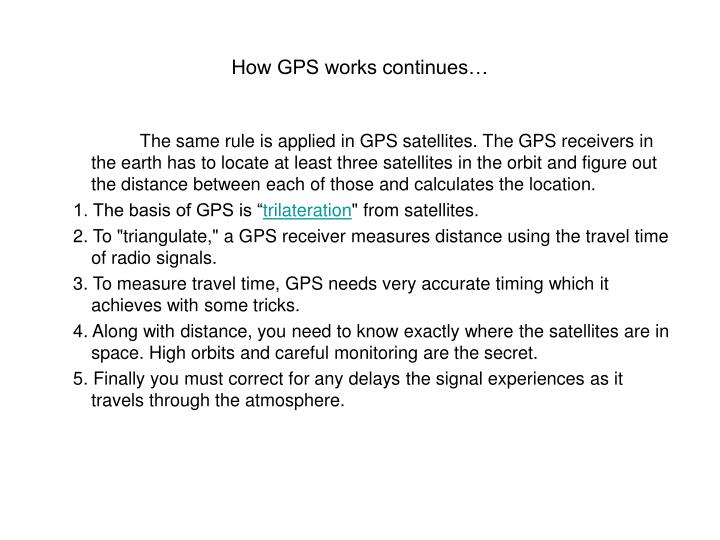 How GPS works continues…