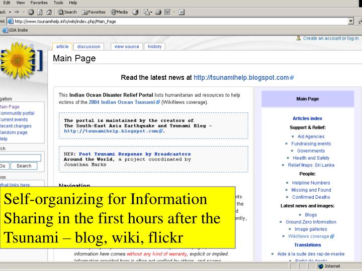 Self-organizing for Information Sharing in the first hours after the Tsunami – blog, wiki, flickr