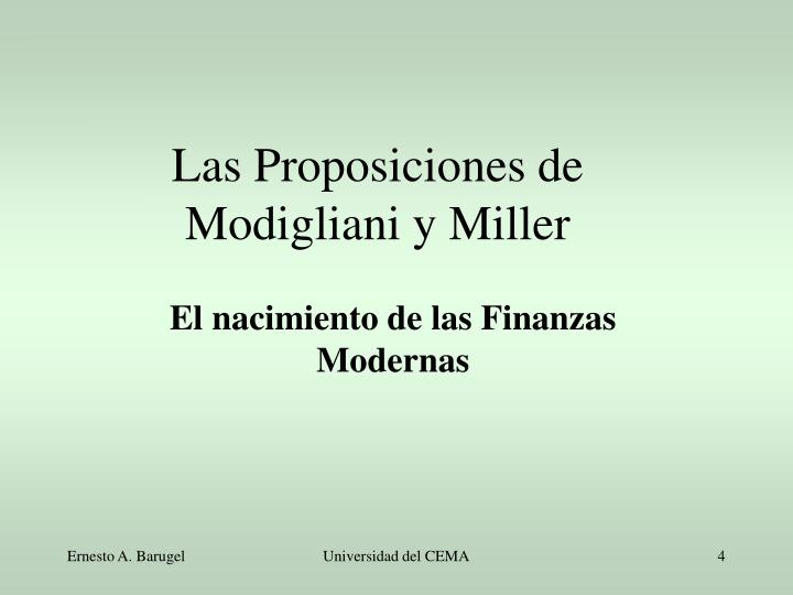 El nacimiento de las Finanzas Modernas