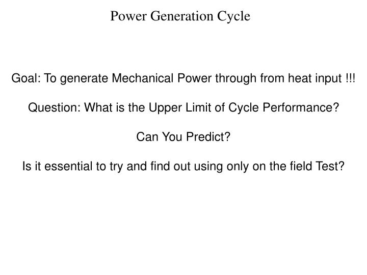 Power generation cycle
