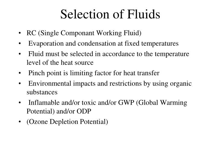 Selection of Fluids