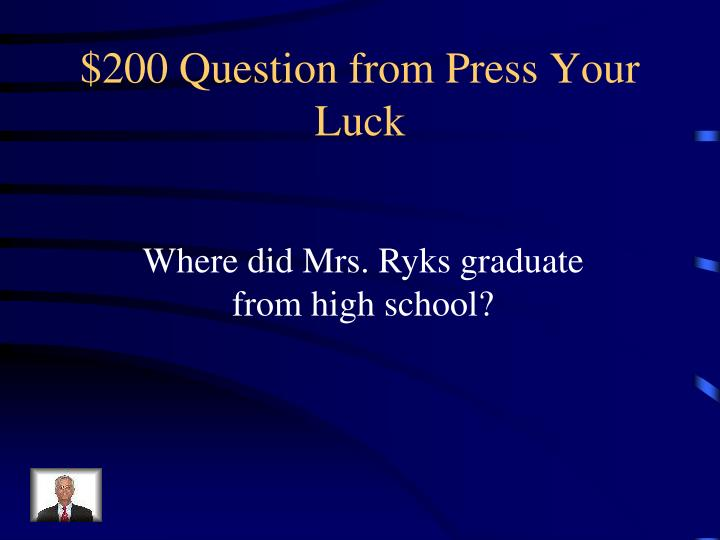 $200 Question from Press Your Luck