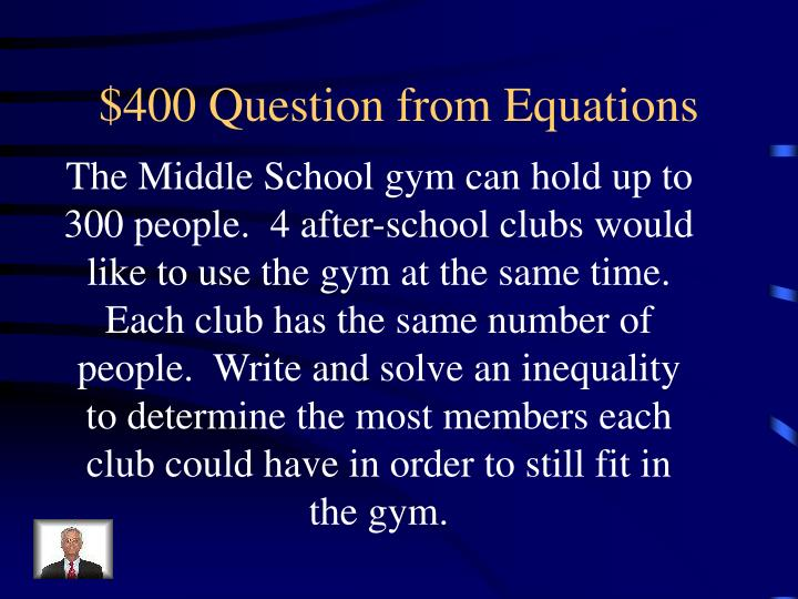 $400 Question from Equations
