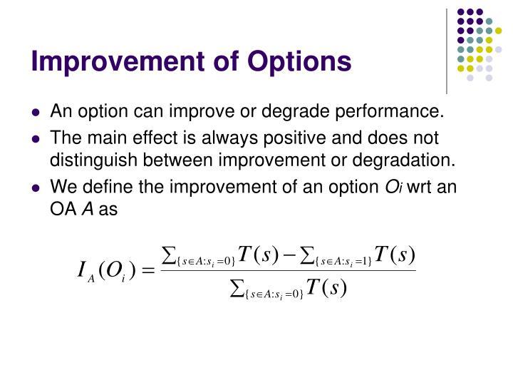 Improvement of Options