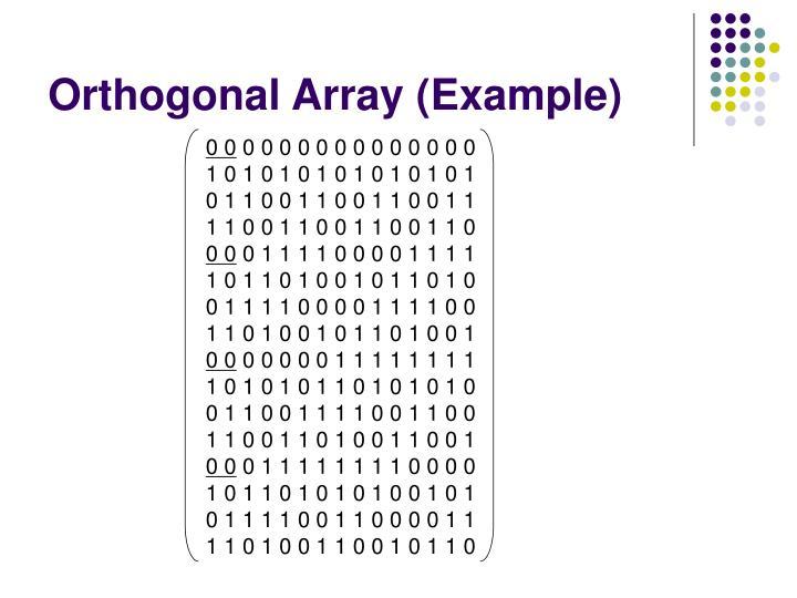 Orthogonal Array (Example)