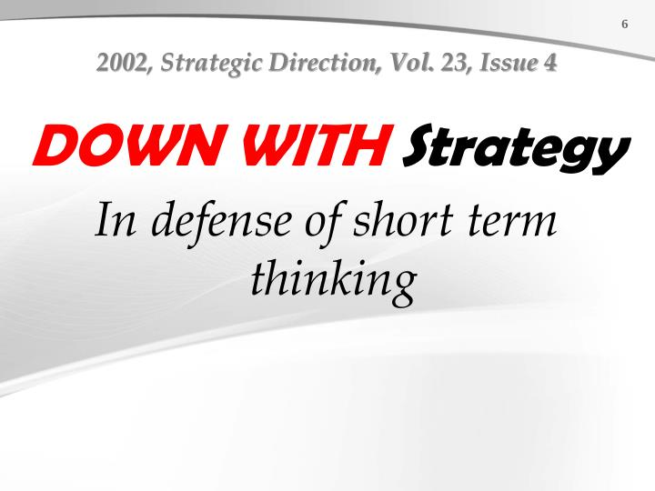 2002, Strategic Direction, Vol. 23
