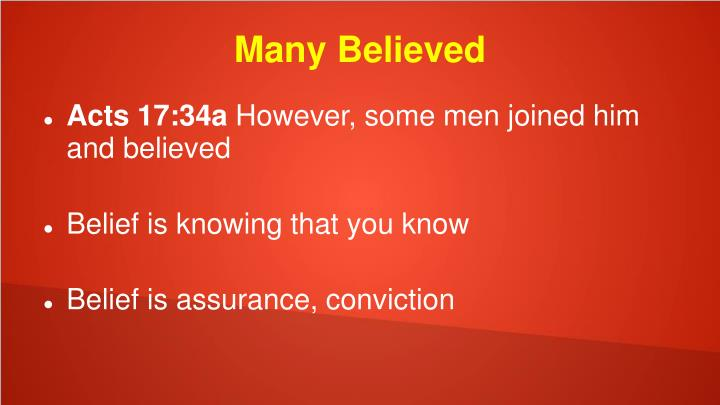 Many Believed