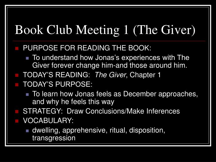 Book Club Meeting 1 (The Giver)