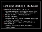 book club meeting 1 the giver