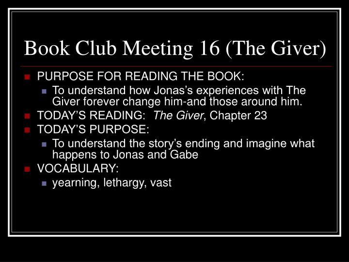 Book Club Meeting 16 (The Giver)