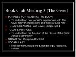 book club meeting 3 the giver