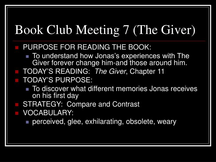 Book Club Meeting 7 (The Giver)