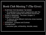 book club meeting 7 the giver