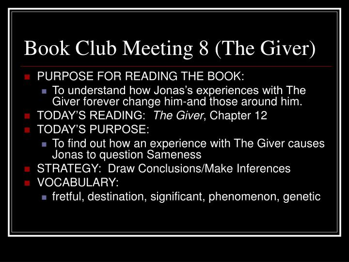 Book Club Meeting 8 (The Giver)