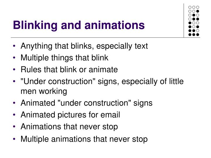 Blinking and animations