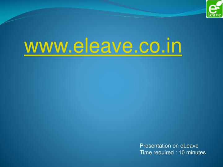 Www.eleave.co.in