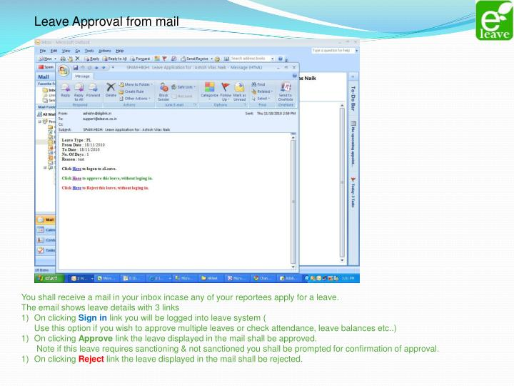 Leave Approval from mail