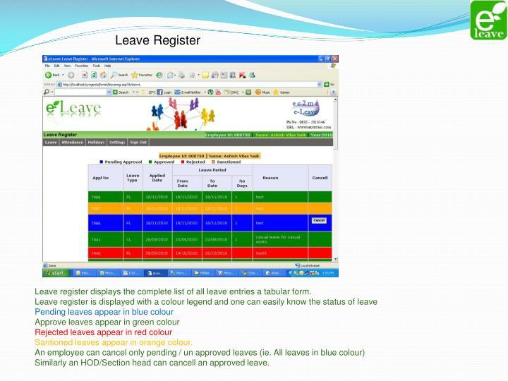 Leave Register