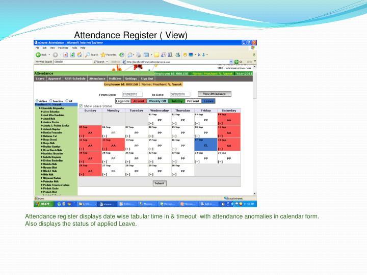 Attendance Register ( View)