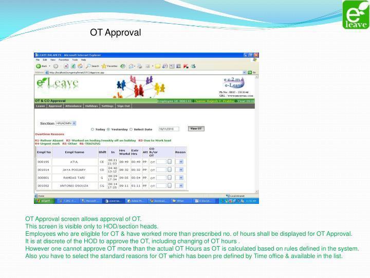 OT Approval