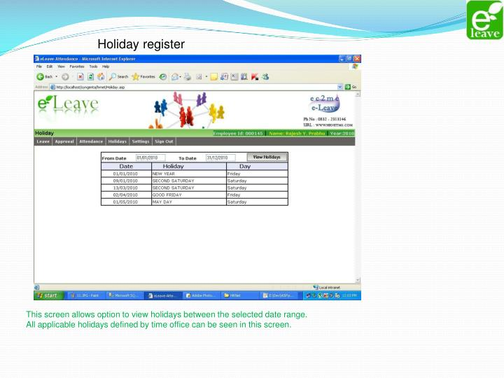 Holiday register