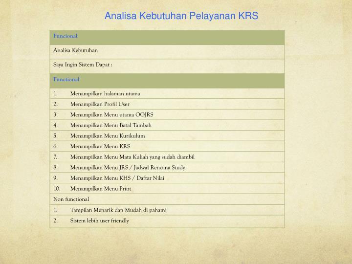 Analisa Kebutuhan Pelayanan KRS