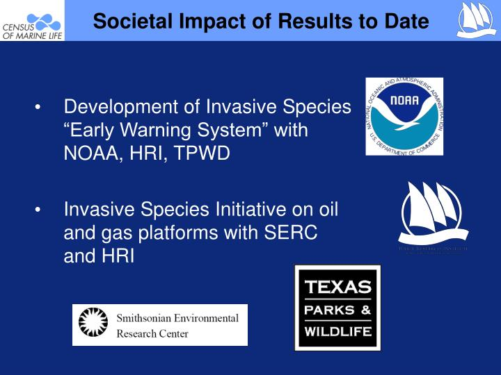 "Development of Invasive Species ""Early Warning System"" with NOAA, HRI, TPWD"