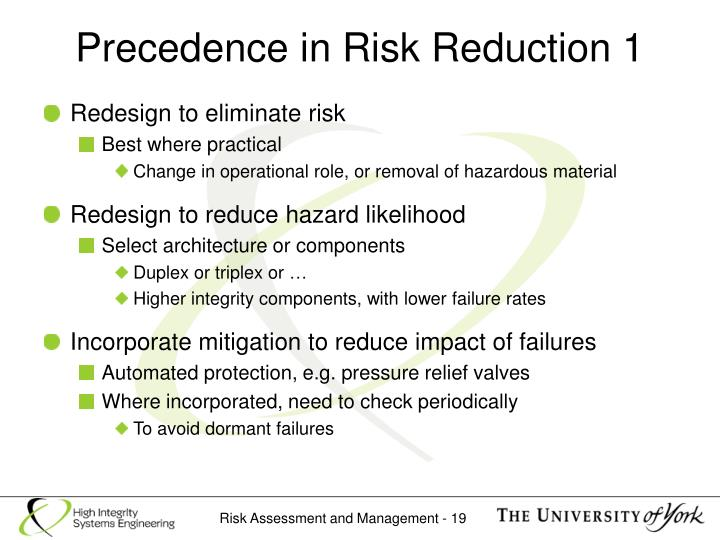 Precedence in Risk Reduction 1