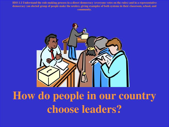 HSS 1.1 Understand the rule-making process in a direct democracy (everyone votes on the rules) and in a representative democracy (an elected group of people make the urules), giving examples of both systems in their classroom, school, and community.