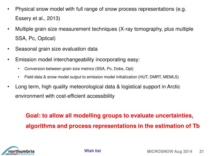 Physical snow model with full range of snow process representations (e.g. Essery et al., 2013)