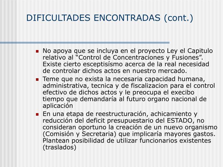 DIFICULTADES ENCONTRADAS (cont.)