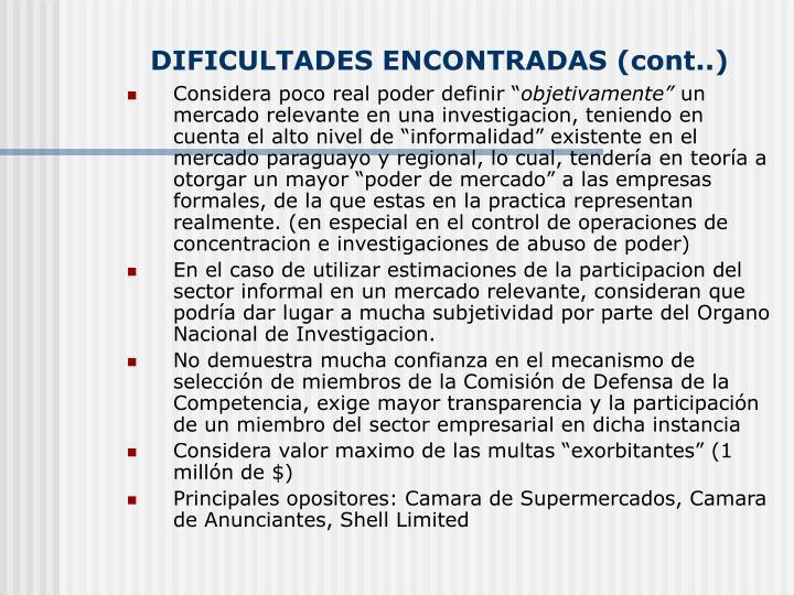DIFICULTADES ENCONTRADAS (cont..)
