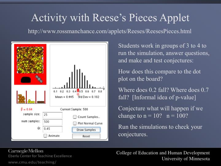 Activity with Reese's Pieces Applet
