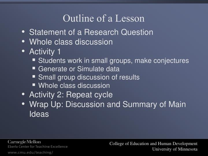 Outline of a Lesson
