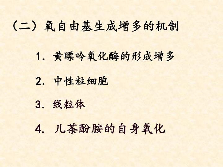 (二)氧自由基生成增多的机制
