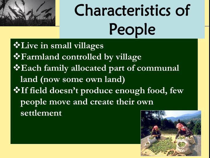 Characteristics of People