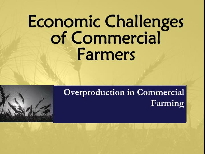 Economic Challenges of Commercial Farmers