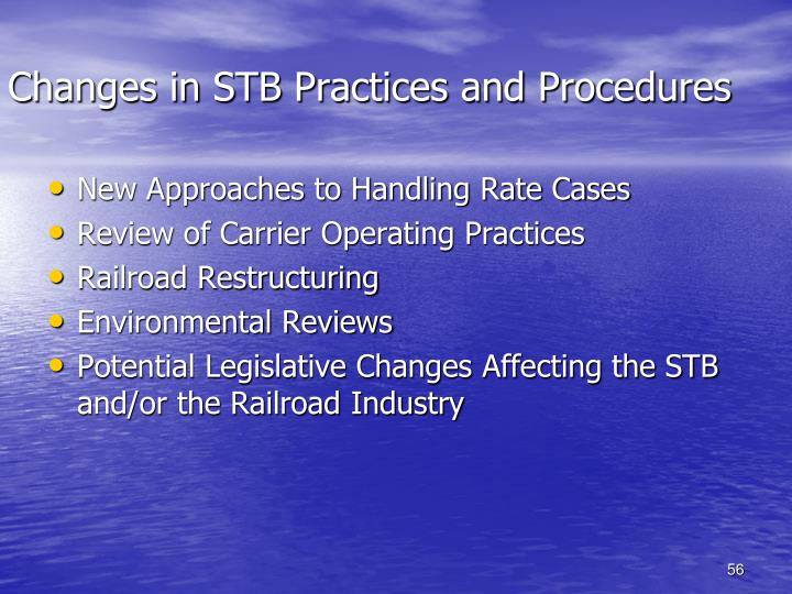 Changes in STB Practices and Procedures