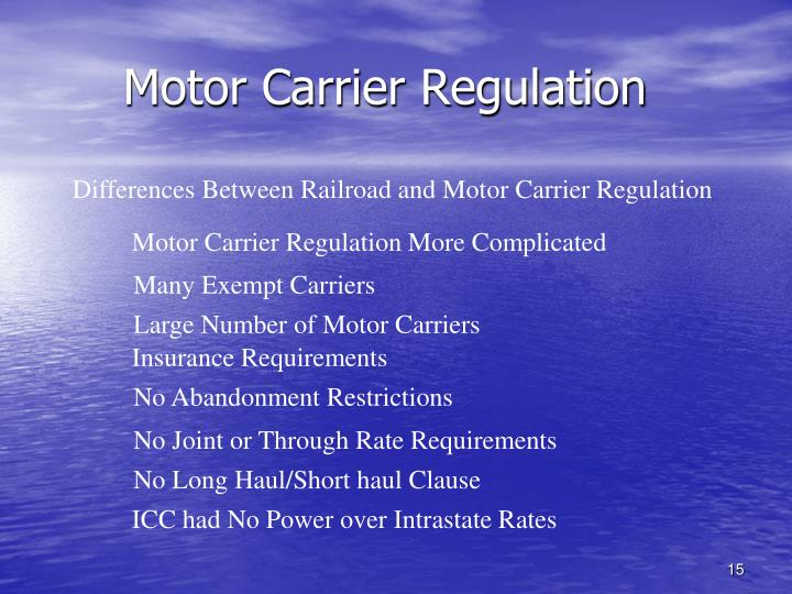 Motor Carrier Regulation