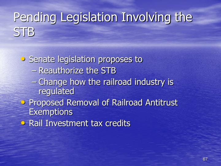 Pending Legislation Involving the STB
