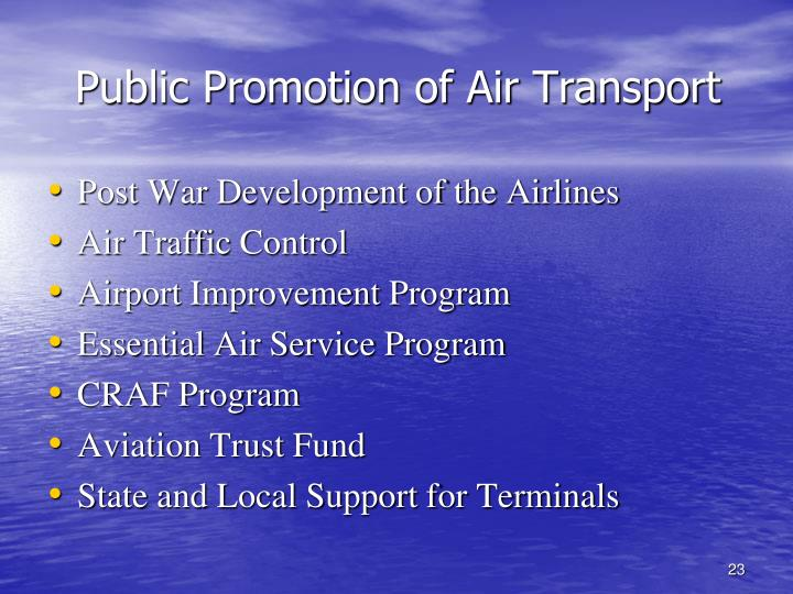 Public Promotion of Air Transport