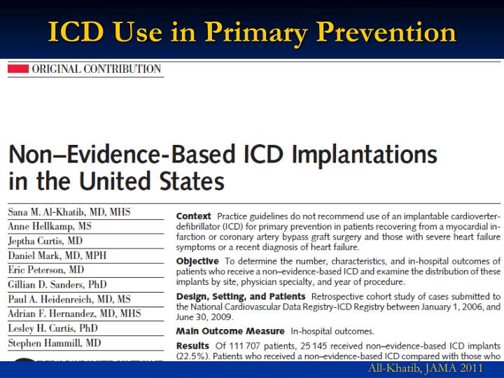 ICD Use in Primary Prevention