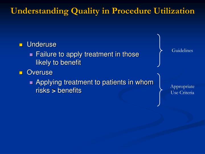 Understanding Quality in Procedure Utilization