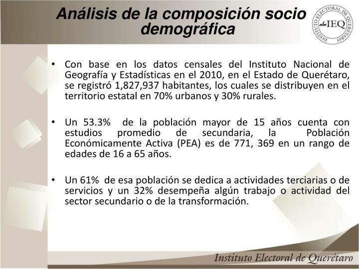 Análisis de la composición socio demográfica