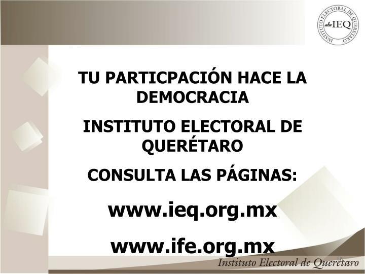 TU PARTICPACIÓN HACE LA DEMOCRACIA