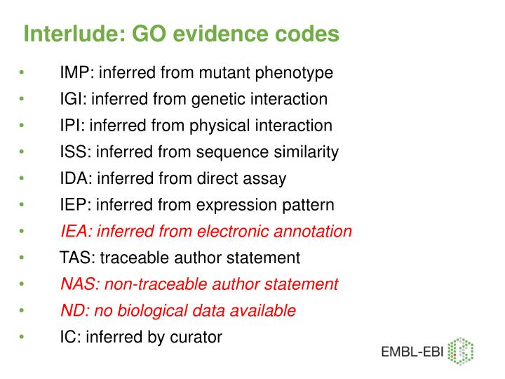 Interlude: GO evidence codes