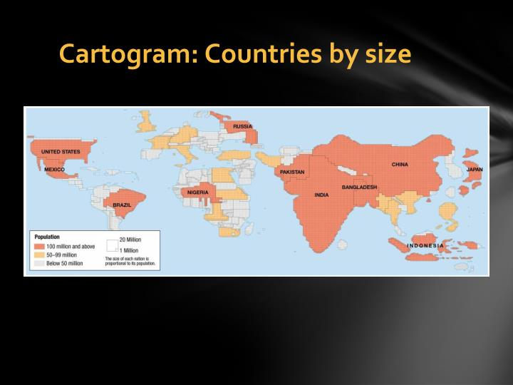 Cartogram countries by size
