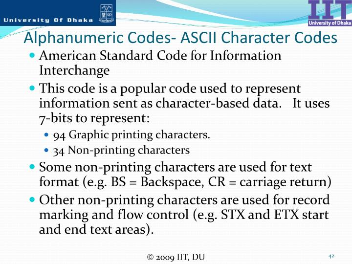 Alphanumeric Codes- ASCII Character Codes